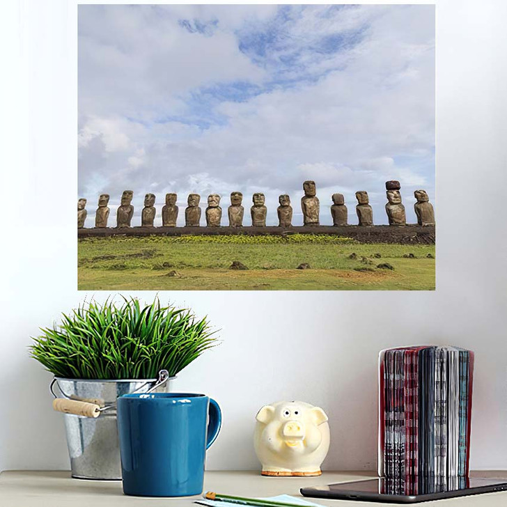 15 Moais Ahu Tongariki On Easter - Landmarks and Monuments Wall Art Poster