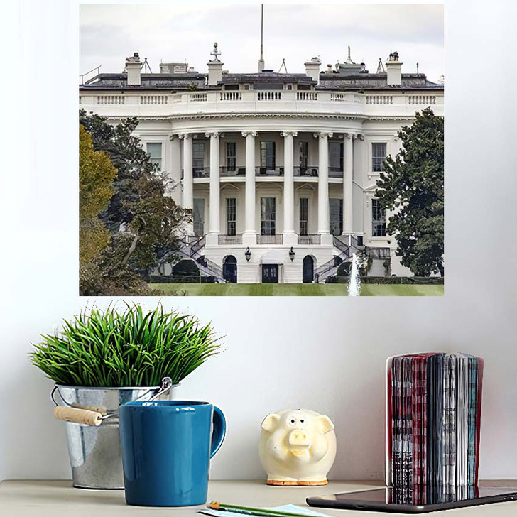 1600 Pennsylvania Avenue Washington Dc White - Landmarks and Monuments Wall Art Poster