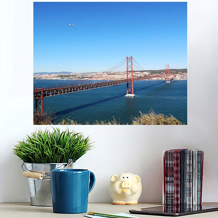 25 De Abril Bridge Over Tagus - Landmarks and Monuments Wall Art Poster