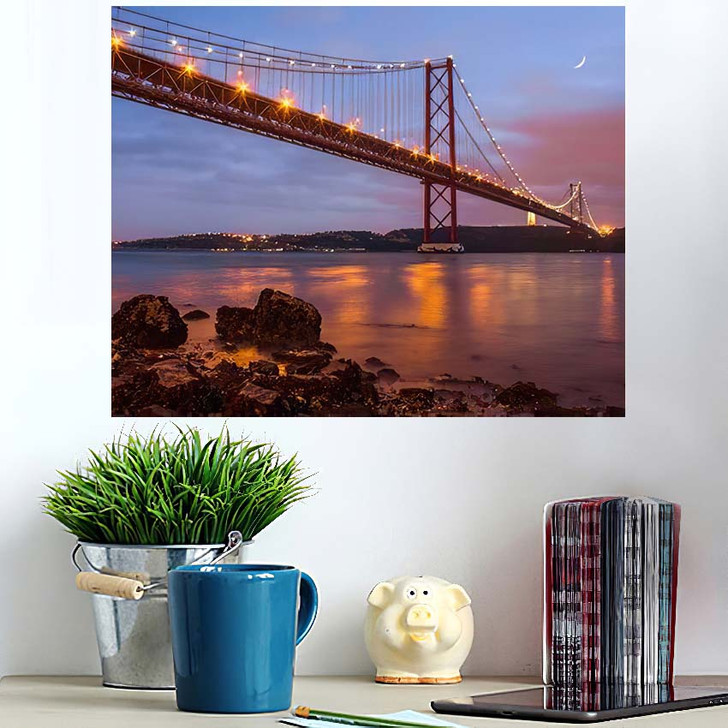 25 De Abril Bridge Over Tagus 1 - Landmarks and Monuments Wall Art Poster