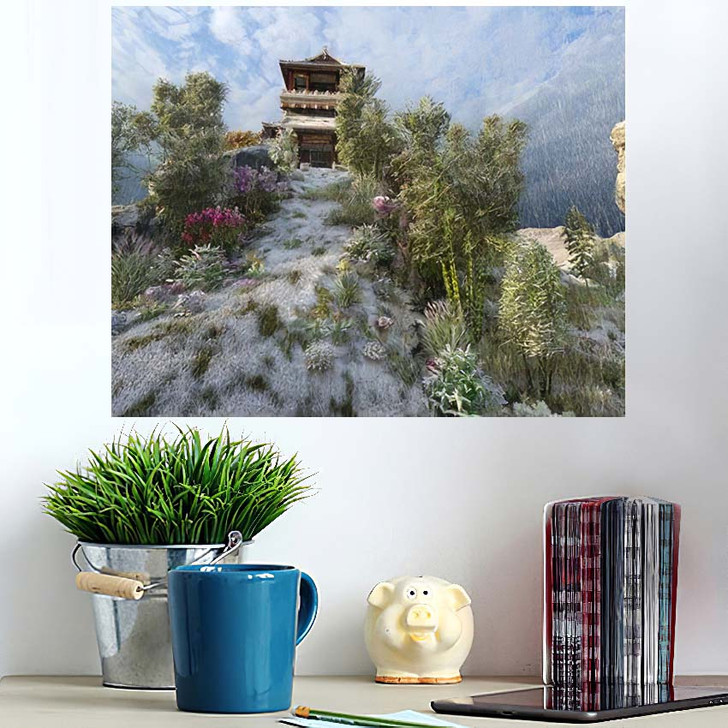 3D Image Chinese Building Pagoda On - Landmarks and Monuments Wall Art Poster