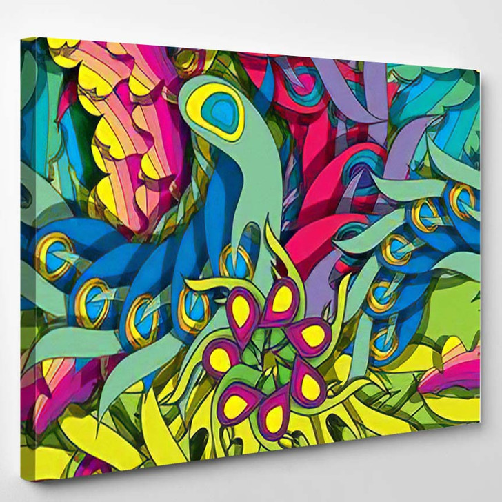 Vibrant Psychedelic Seamless Pattern Eps10 - Psychedelic Canvas Wall Decor
