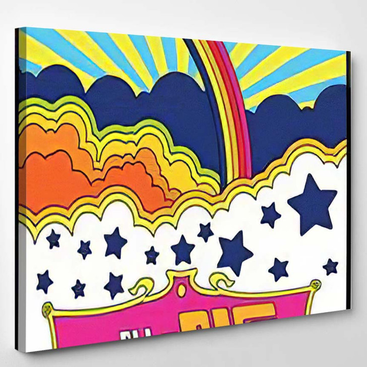 Vintage Poster Psychedelic Background 1960S Hippie - Psychedelic Canvas Wall Decor