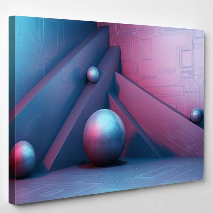 3D Rendering Scifi Interior Simple Geometric - Fantastic Canvas Wall Decor