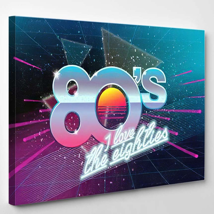 80S Love Eighties Retro Banner Old - Fantastic Canvas Wall Decor