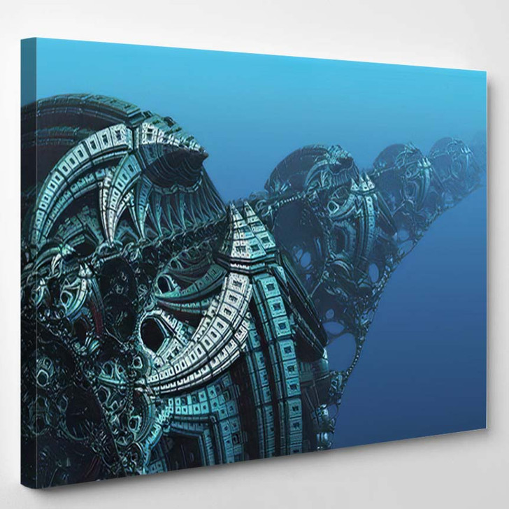 Abstract Background Fantastic 3D Blue Metal 1 - Fantastic Canvas Wall Decor