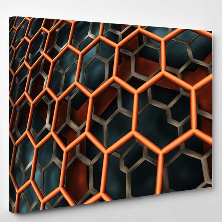 Abstract Background Fantastic 3D Hexagon Structure - Fantastic Canvas Wall Decor