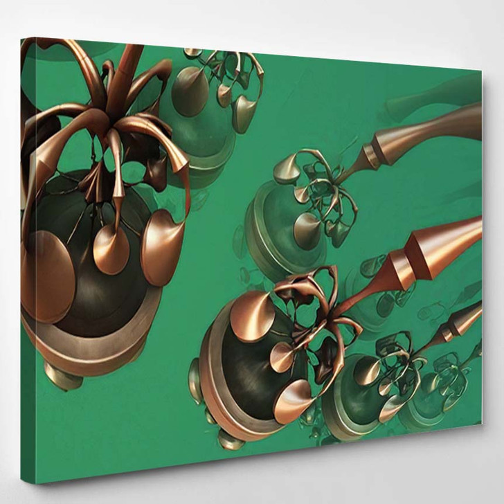 Abstract Background Fantastic Metallic Shapes 3D - Fantastic Canvas Wall Decor