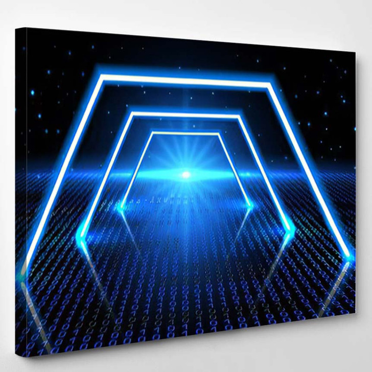 Abstract Cosmic Background Fantastic Hyperspace Neon - Fantastic Canvas Wall Decor