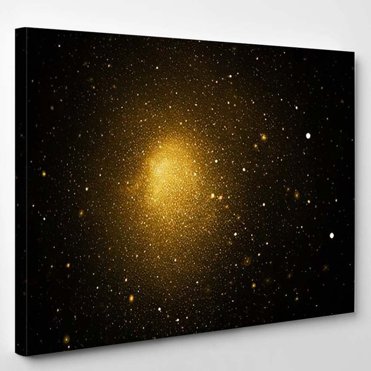Abstract Golden Sparkles On Black Background - Fantastic Canvas Wall Decor