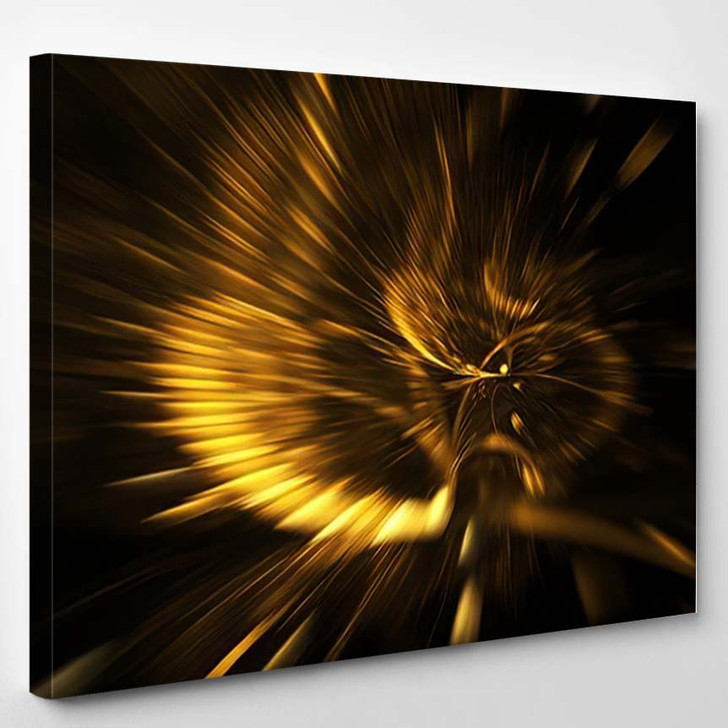Abstract Holiday Background Blurred Golden Rays - Fantastic Canvas Wall Decor