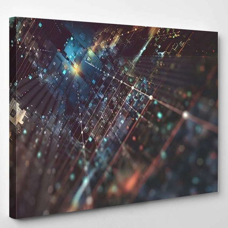 Abstract Tech Background 3D Illustration Quantum - Fantastic Canvas Wall Decor