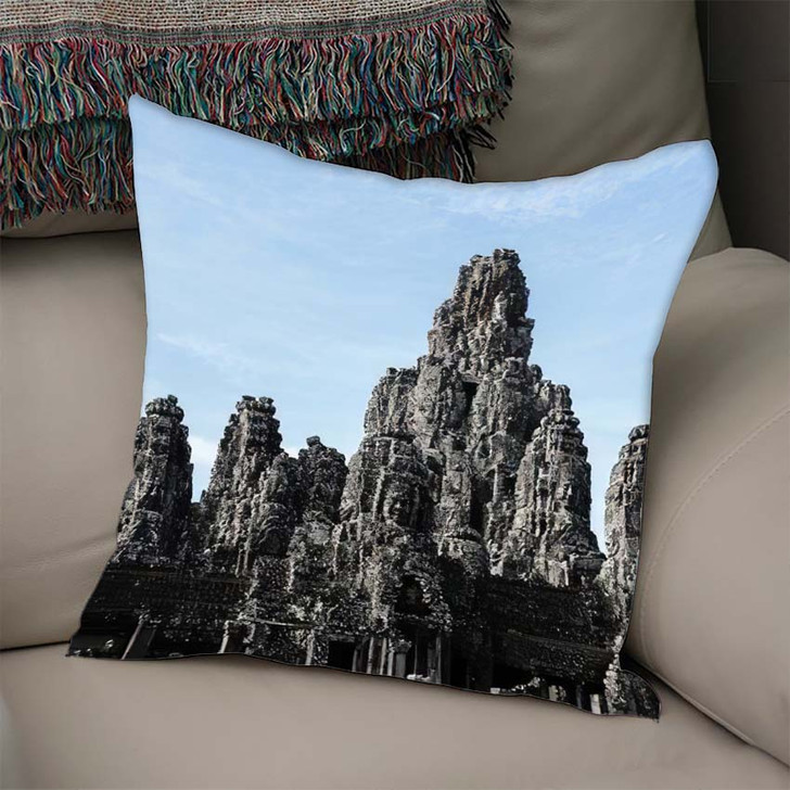 1 September 2019 Siemreap Cambodia Bayon - Landmarks and Monuments Linen Throw Pillow