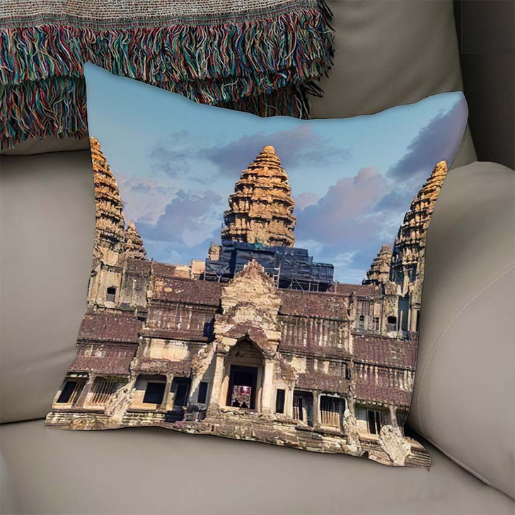 1022020 Thailand Cambodia View Popular Tourist - Landmarks and Monuments Linen Throw Pillow