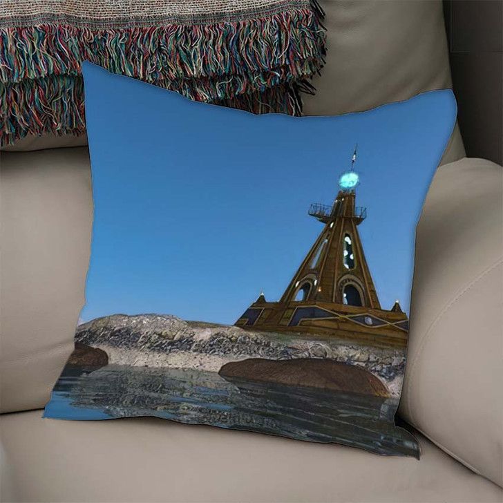 3D Cg Rendering Lighthouse - Landmarks and Monuments Linen Throw Pillow