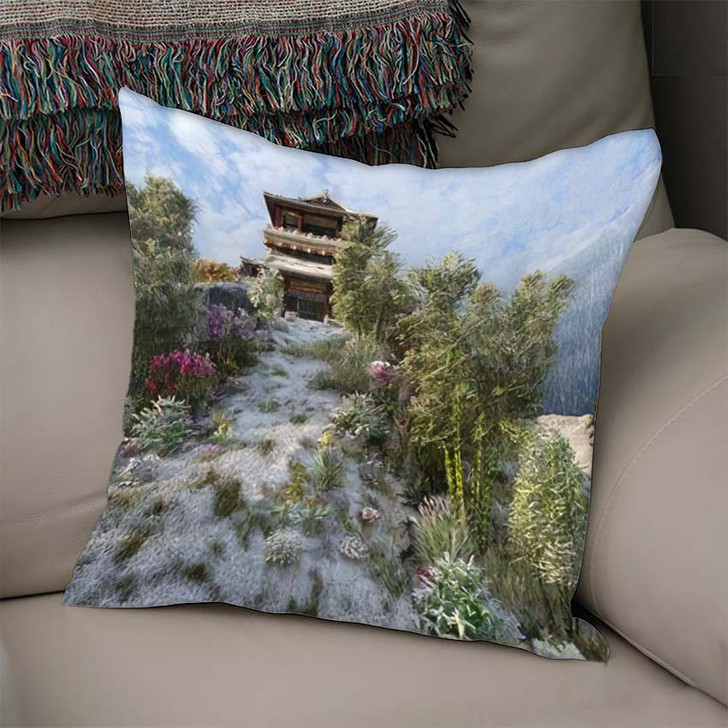 3D Image Chinese Building Pagoda On - Landmarks and Monuments Linen Throw Pillow