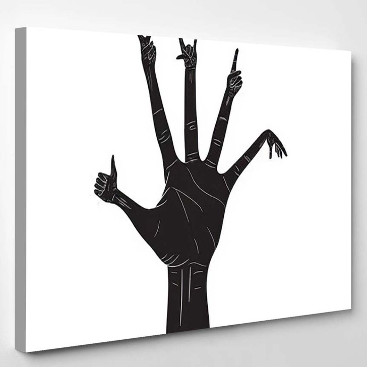 Black Silhouette Realistic Palm Hands Different 1 - Fantastic Canvas Wall Decor