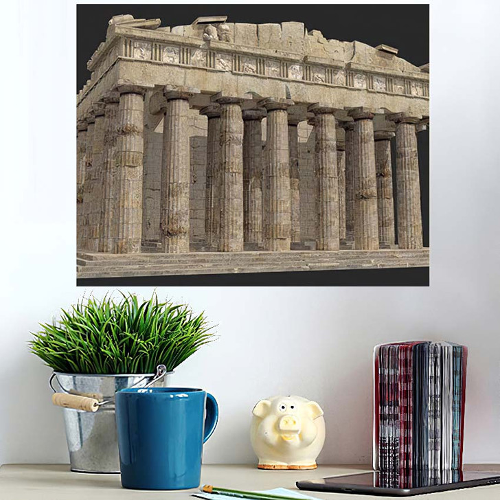 3D Render Parthenon Against Grey Background - Landmarks and Monuments Wall Art Poster