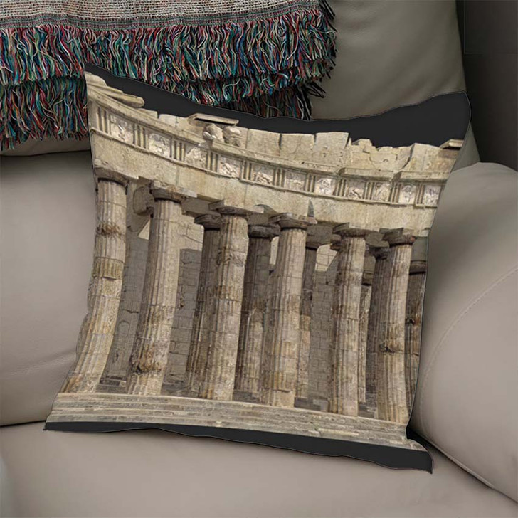 3D Render Parthenon Against Grey Background - Landmarks and Monuments Linen Throw Pillow