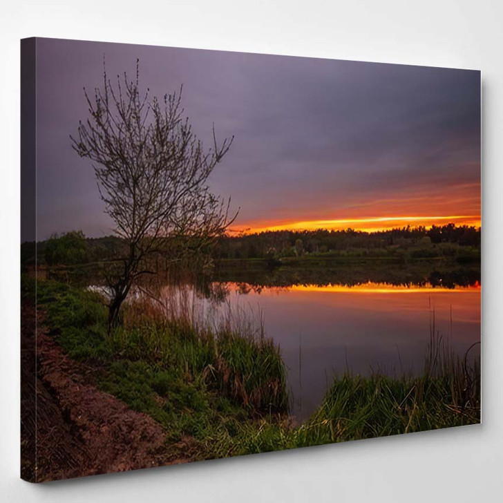 Long Exposure Fantastic Sunset View On 1 - Fantastic Canvas Wall Decor