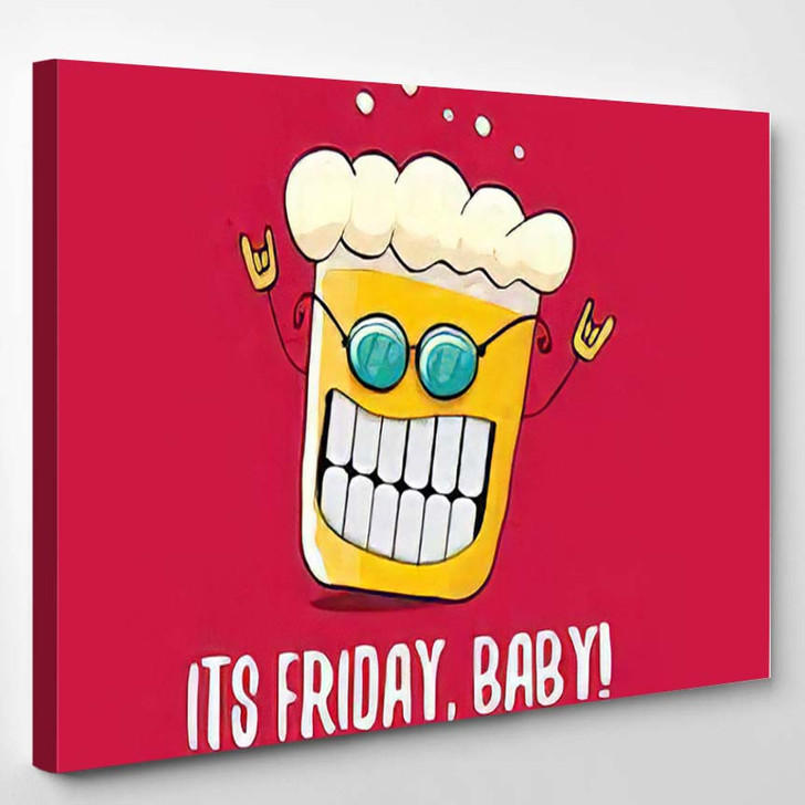 Friday Baby Vector Concept Illustration Funky - Quotes Canvas Wall Decor