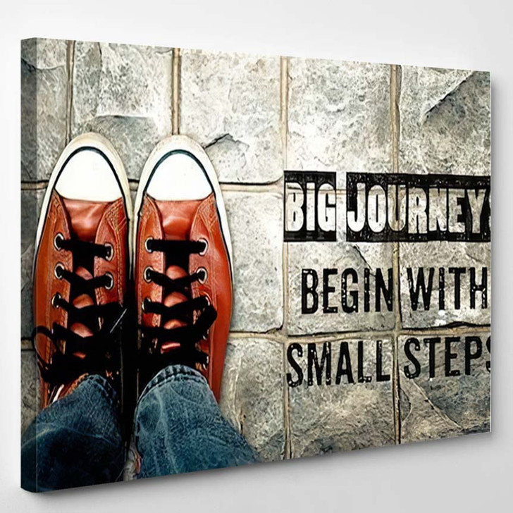 Inspire Motivation Quote Big Journeys Begin - Quotes Canvas Wall Decor