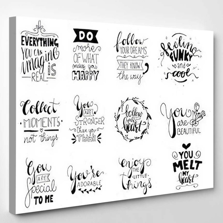 Set 12 Card Posters Typography Designs - Quotes Canvas Wall Decor