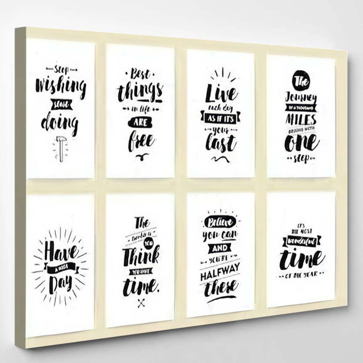 Set 8 Cards Posters Typography Usable - Quotes Canvas Wall Decor