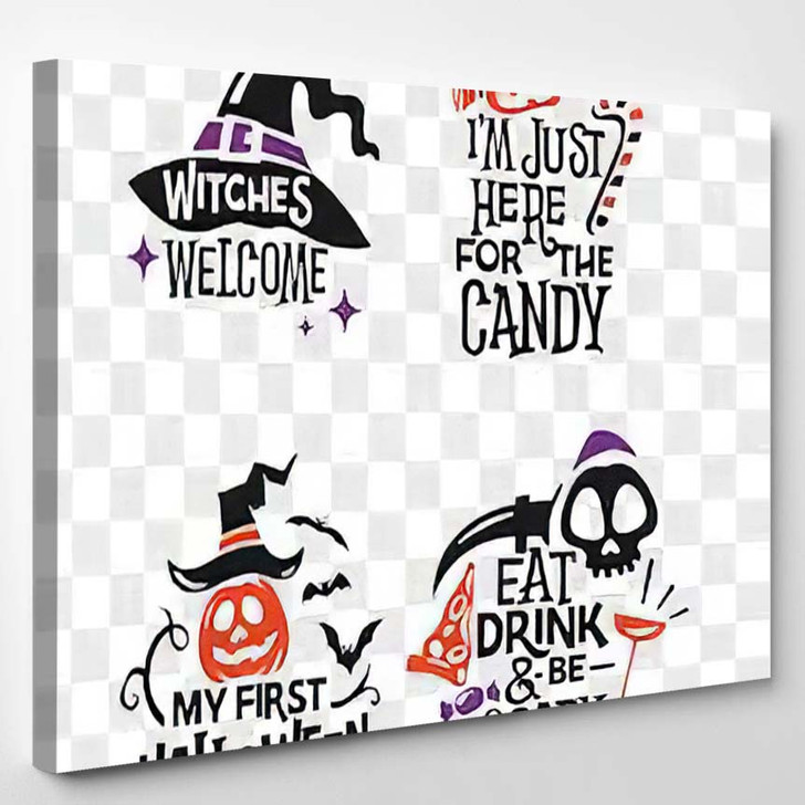 Set Silhouettes Halloween Icons Quote Party - Quotes Canvas Wall Decor