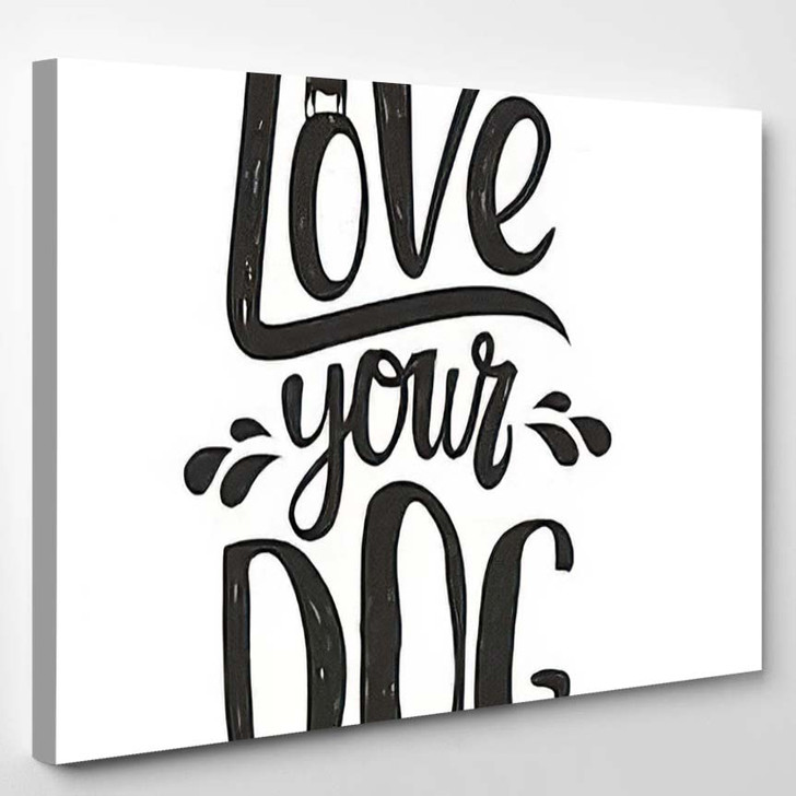 Trendy Doodle Style Illustration Dogs Silhouette - Quotes Canvas Wall Decor