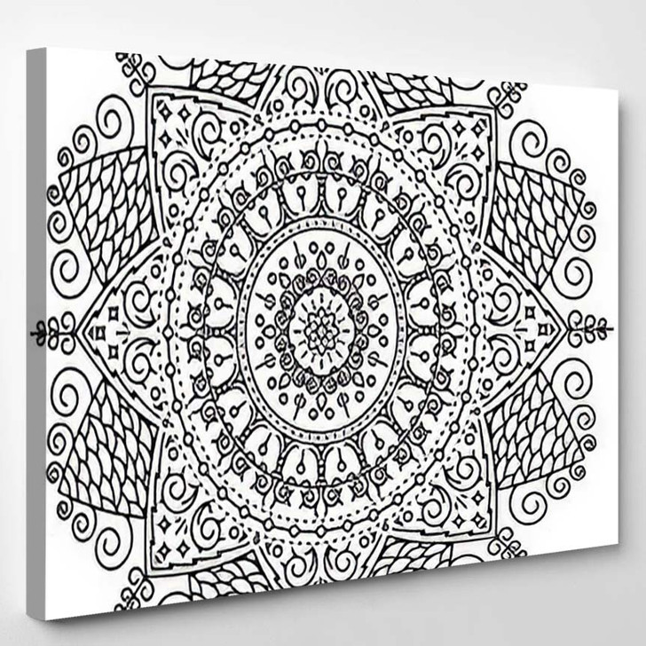 Abstract Black Line Flower Nature Doodle - Mandala Canvas Wall Decor
