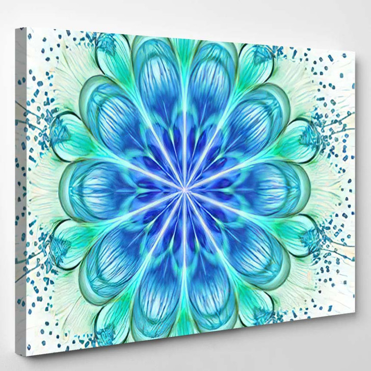 Abstract Exotic Flower Shining Drops Psychedelic - Mandala Canvas Wall Decor