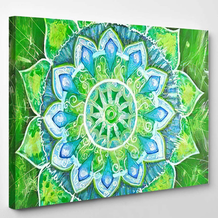 Abstract Green Painted Picture Circle Pattern - Mandala Canvas Wall Decor