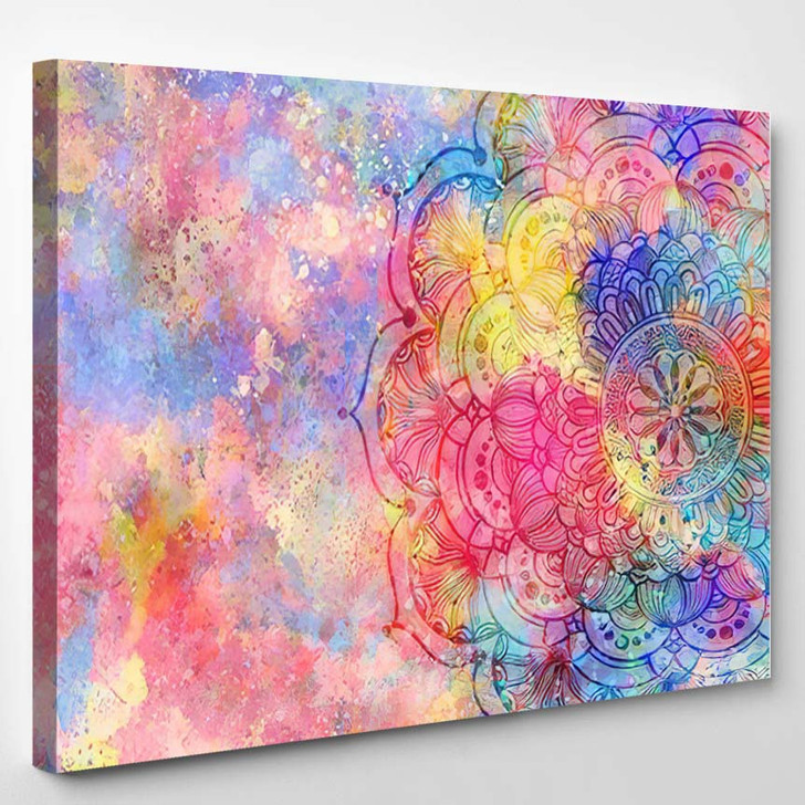 Abstract Mandala Graphic Design Watercolor Digital 1 - Mandala Canvas Wall Decor
