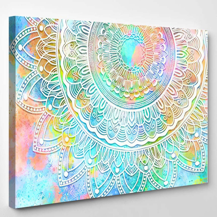 Abstract Mandala Graphic Design Watercolor Digital 4 - Mandala Canvas Wall Decor