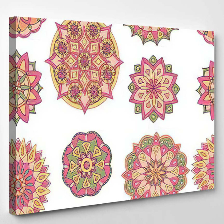 Abstract Seamless Pattern Handdrawn Mandalas Beautiful - Mandala Canvas Wall Decor