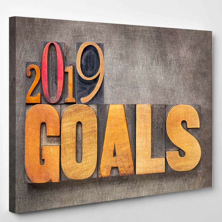 2019 Goals New Year Resolution Concept - Canvas Wall Decor