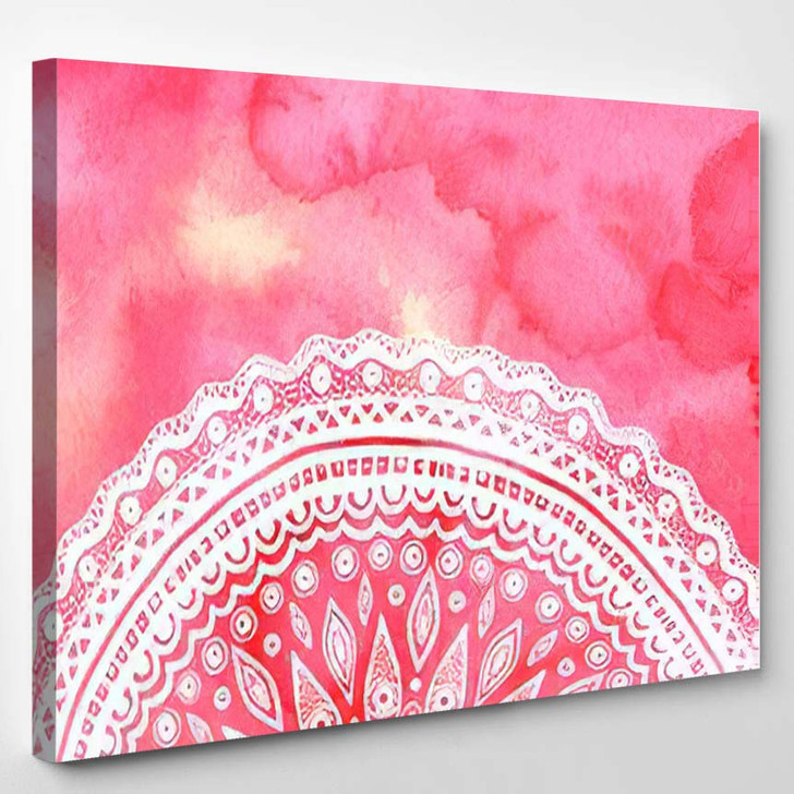 Pink Watercolor Paint Background White Hand 1 - Mandala Canvas Wall Decor