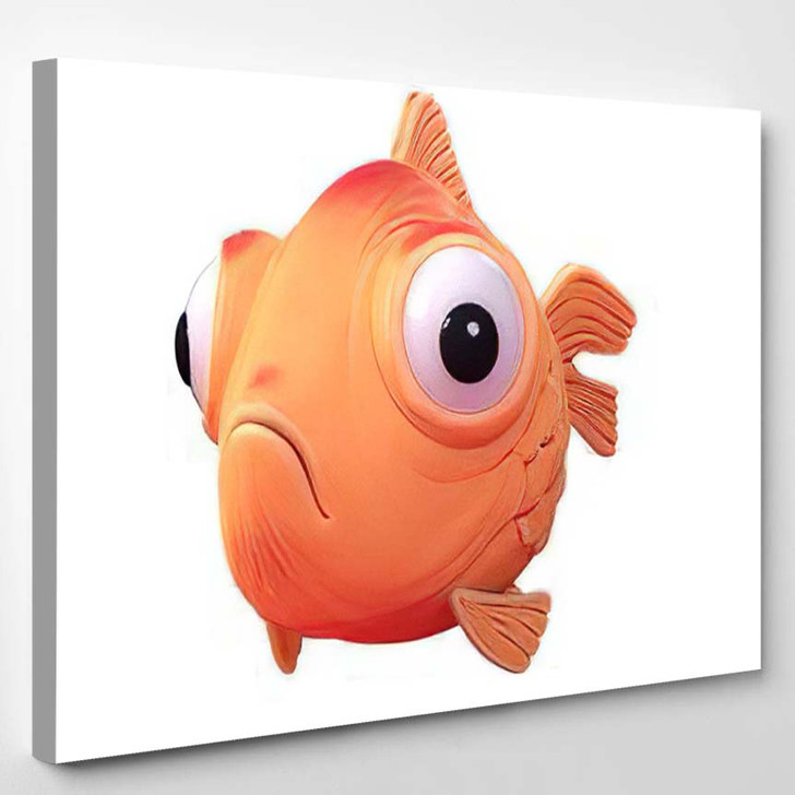 3D Cartoon Character Spherical Goldfish Big - Cartoon Canvas Wall Decor