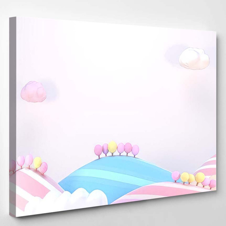 3D Rendering Picture Sweet Cartoon Mountains 1 - Cartoon Canvas Wall Decor