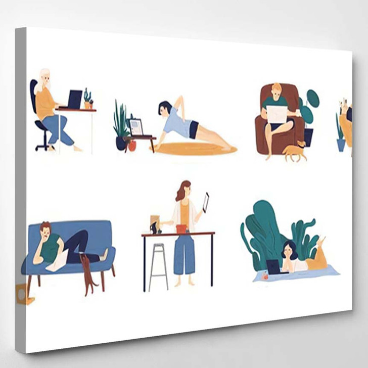 Collection People Surfing Internet On Their - Cartoon Canvas Wall Decor