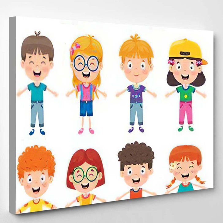 Group Funny Children Playing - Cartoon Canvas Wall Decor