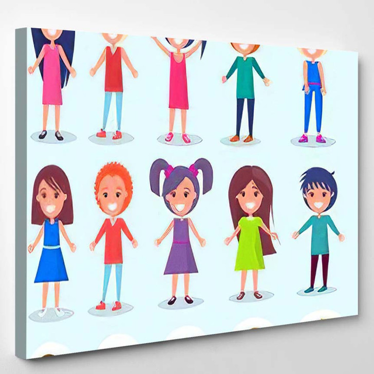 Portrait View Smiling Young People Kids - Cartoon Canvas Wall Decor