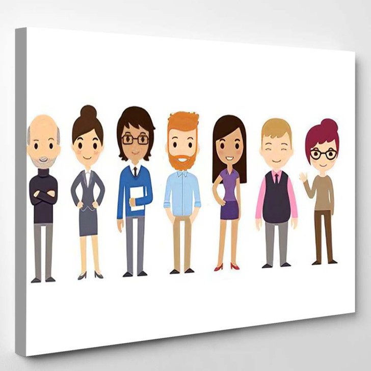 Set Diverse Business People Isolated On 1 - Cartoon Canvas Wall Decor