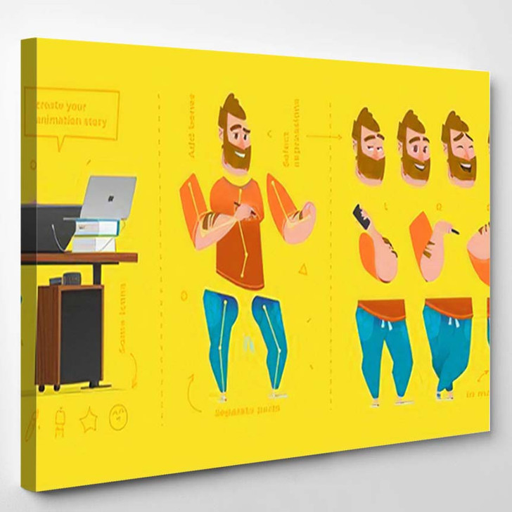 Stylized Characters Set Animation Some Parts - Cartoon Canvas Wall Decor