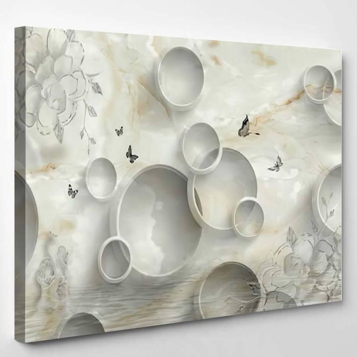 3D Marble Circle Illustration Background Rendering - Abstract Art Canvas Wall Decor
