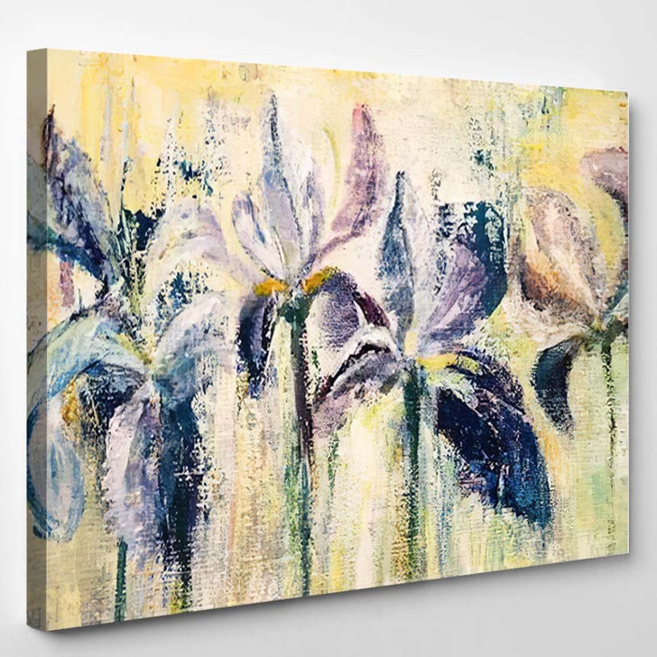 Abstract Acrylic Painting Purple Iris Flowers - Abstract Art Canvas Wall Decor