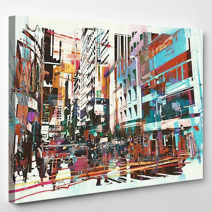 Abstract Art Cityscapeillustration Painting 1 - Abstract Art Canvas Wall Decor