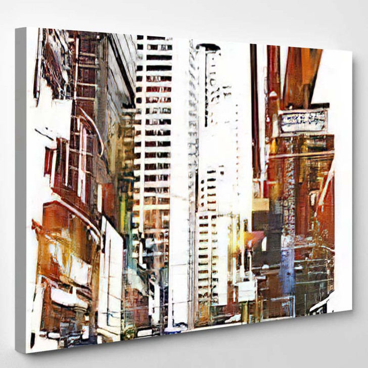 Abstract Art Cityscapeillustration Painting 2 - Abstract Art Canvas Wall Decor