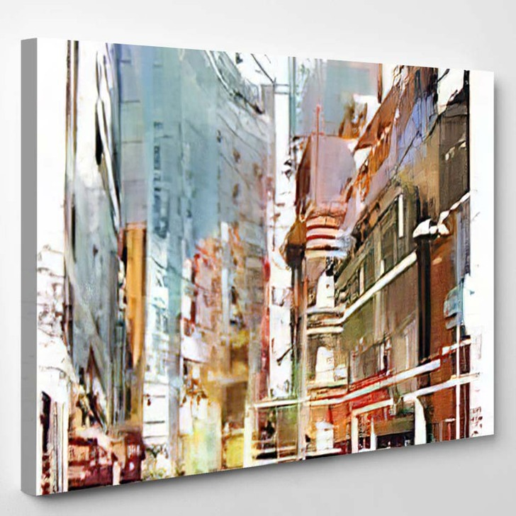 Abstract Art Cityscapeillustration Painting 3 - Abstract Art Canvas Wall Decor